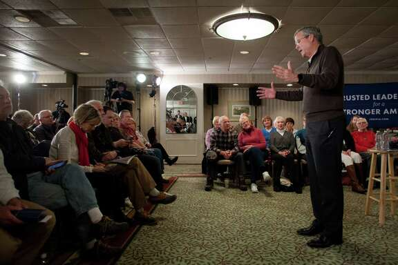 LACONIA, NH - FEBRUARY 03: Republican presidential candidate Jeb Bush speaks at the Margate Resort on February 3, 2016 in Laconia, New Hampshire. Bush is campaigning in the lead up to the The New Hampshire primary, February 9.
