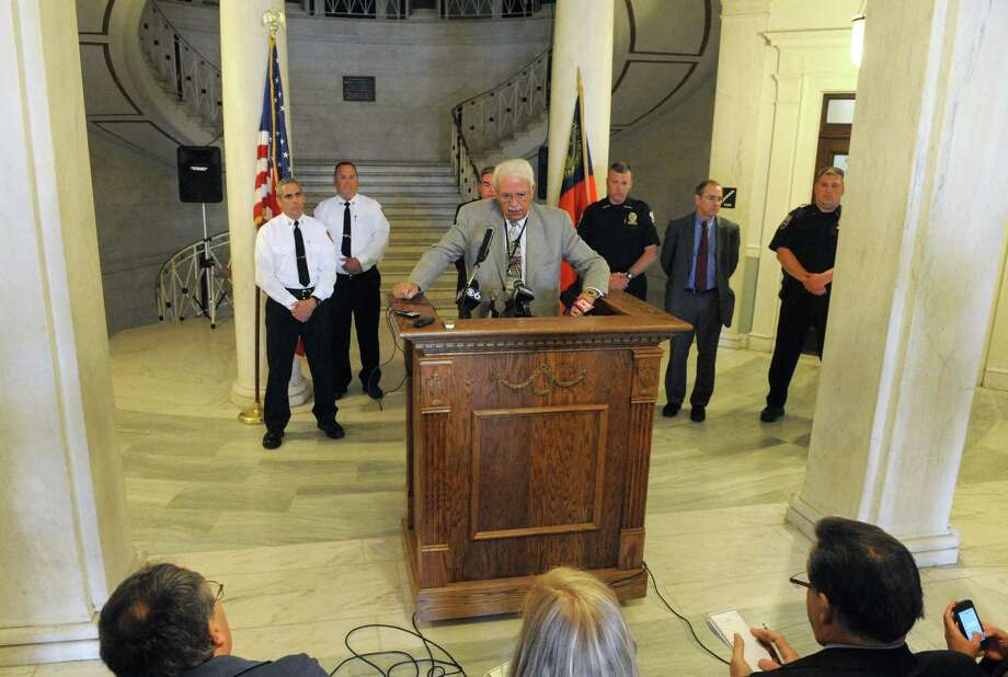 Public Safety Commissioner Wayne E. Bennett speaks during a press conference at City Hall on Friday May 15, 2015 in Schenectady, N.Y. (Michael P. Farrell/Times Union) Photo: Michael P. Farrell / 00031872A