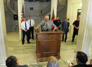 Public Safety Commissioner Wayne E. Bennett speaks during a press conference at City Hall on Friday May 15, 2015 in Schenectady, N.Y. (Michael P. Farrell/Times Union)
