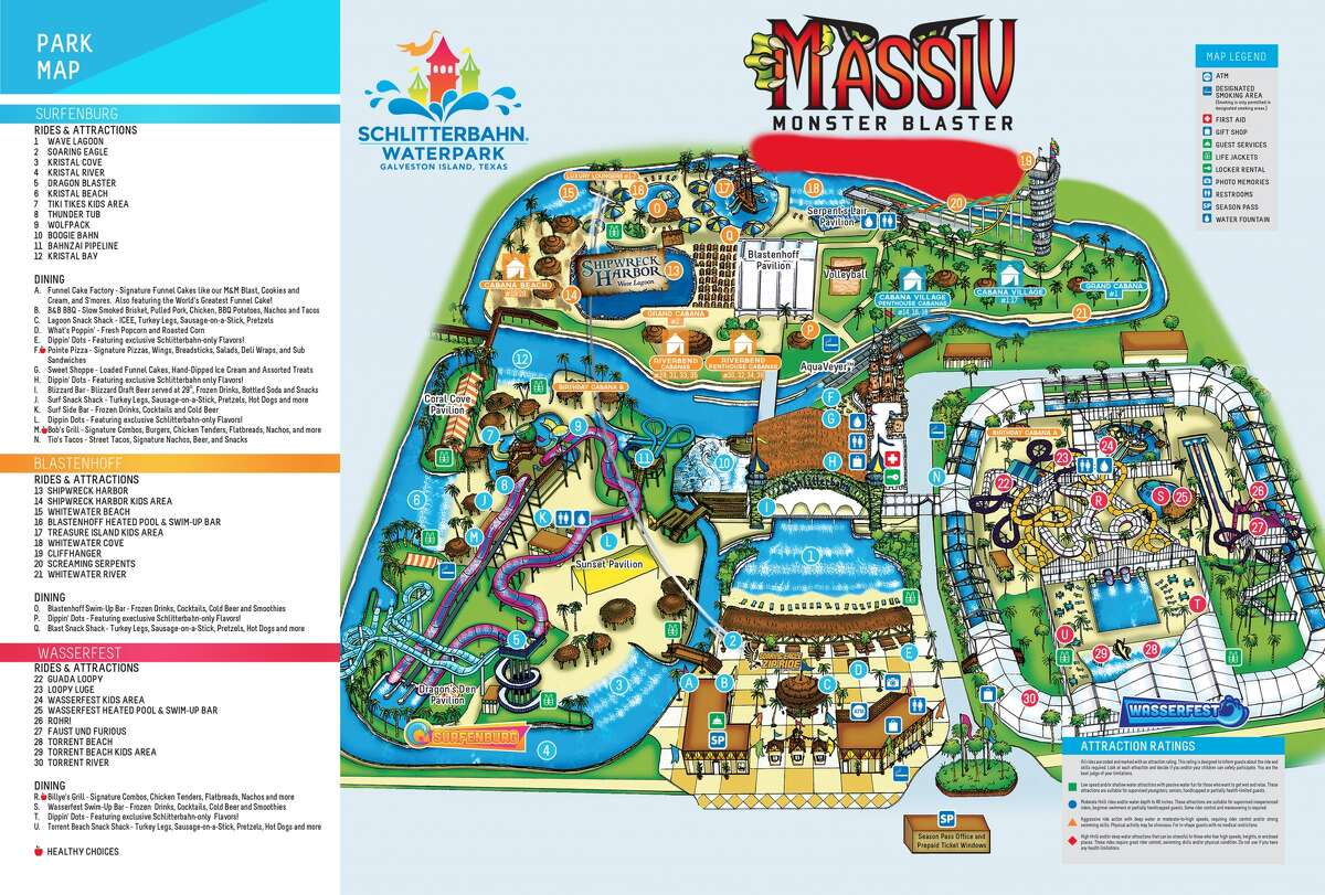 The world's tallest water coaster, dubbed Massiv, is coming to Schlitterbahn Galveston is Summer 2016. The area in red at the top of the map shows where the new attraction will be located inside the park.