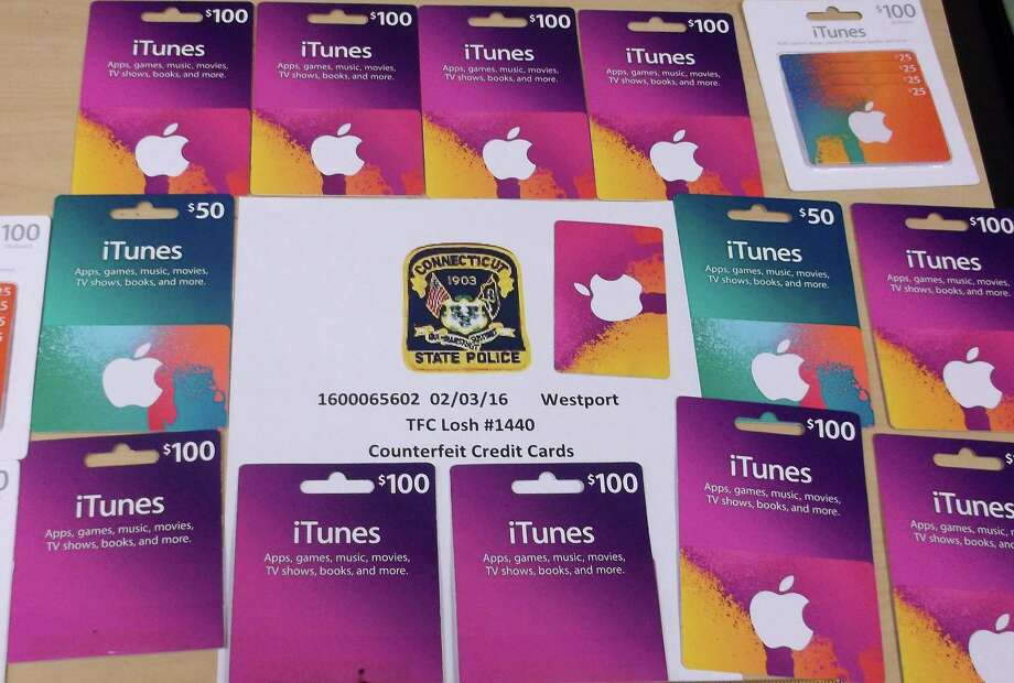 Some of the gift cards that State Police say were stolen by two New York men, who were stopped on Interstate 95 at the Westport/Fairfield border. Photo: Contributed Photo / Contributed Photo / Westport News