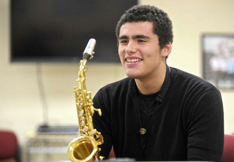 """Bethel High School senior Ben Fitzpatrick, 17, will be one of only 32 high school students from across the country to participate in the """"2016 Grammy Camp — Jazz Session."""" The group will perform at the Grammy Awards show's after-party in Los Angeles. Photo: H John Voorhees III / Hearst Connecticut Media / The News-Times"""