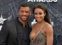 LOS ANGELES, CA - JUNE 28:  Professional football player Russell Wilson (L) and recording artist Ciara attend the 2015 BET Awards at the Microsoft Theater on June 28, 2015 in Los Angeles, California.