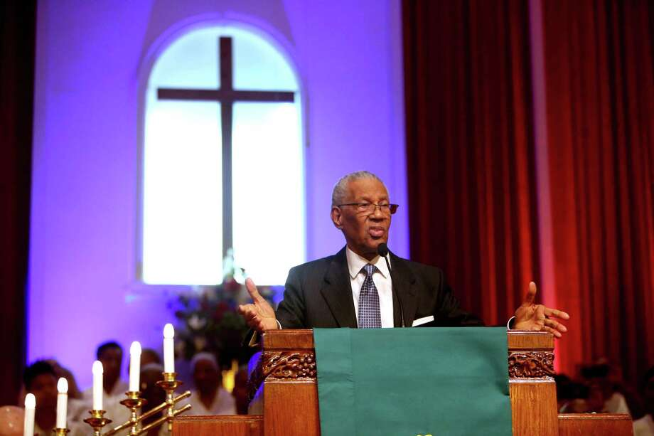 Founding pastor William Lawson is shown at Wheeler Avenue Baptist Church in 2015. The historic church's new sanctuary may be over the spot of the original Frenchy's Chicken. Photo: Gary Coronado, Houston Chronicle / © 2015 Houston Chronicle