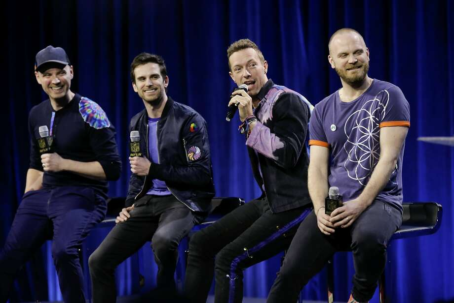 The band Coldplay featuring (l to r) Jonny Buckland, Guy Berryman, Chris Martin and Will Champion will be the headliners of the Super Bowl 50 halftime show, seen as they hold a press conference in San Francisco, Calif., on Thurs. February 4, 2016. Photo: Michael Macor, The Chronicle