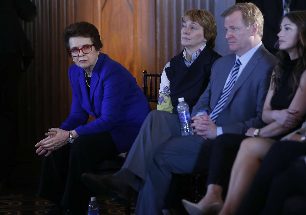 """Billie Jean King, left, sits in the front row next to NFL Commissioner Roger Goodell among others during the first NFL Women?•s Summit: ?'In the Huddle to Advance Women in Sport?"""" in the Merchants Exchange Building Feb. 4, 2016 in San Francisco, Calif."""