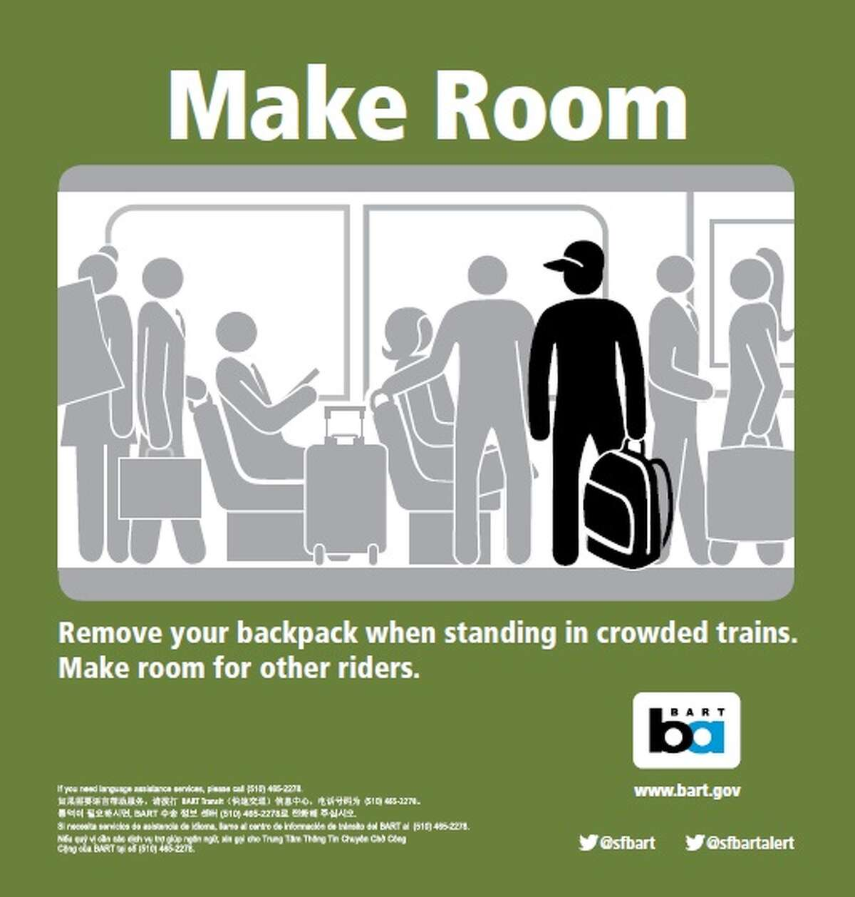Faced with overcrowded trains, BART launched a public service message campaign to encourage riders to take their backpacks off to make more room for those standing on cars. Photo from February 3rd, 2016.