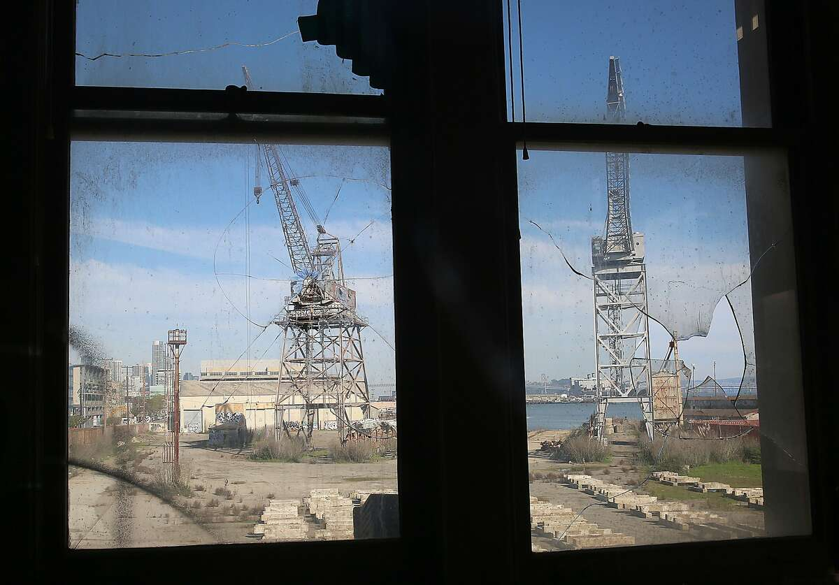 A view of the outside windows of the executive office wing of the Bethlehem Steel Administration in building 101 on the corner of 20th and Illinois at historic pier 70 in San Francisco, California, on Thursday, February 4, 2016.