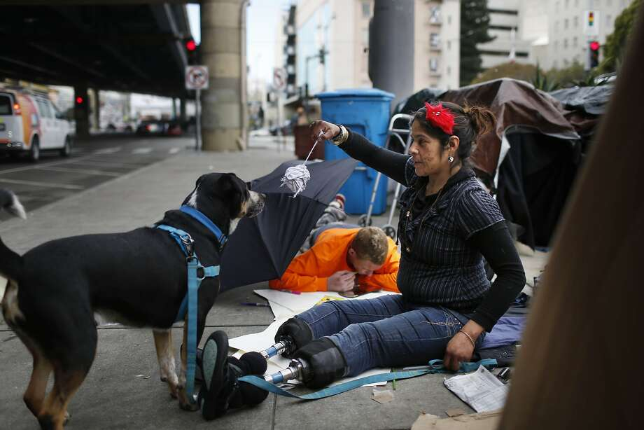 Teresa Sandoval (right) plays with Nugget, the dog of a homeless neighbor, as she sits outside of her tent on 13th Street  on Friday, January 15, 2016 in San Francisco, Calif. Photo: Lea Suzuki, The Chronicle
