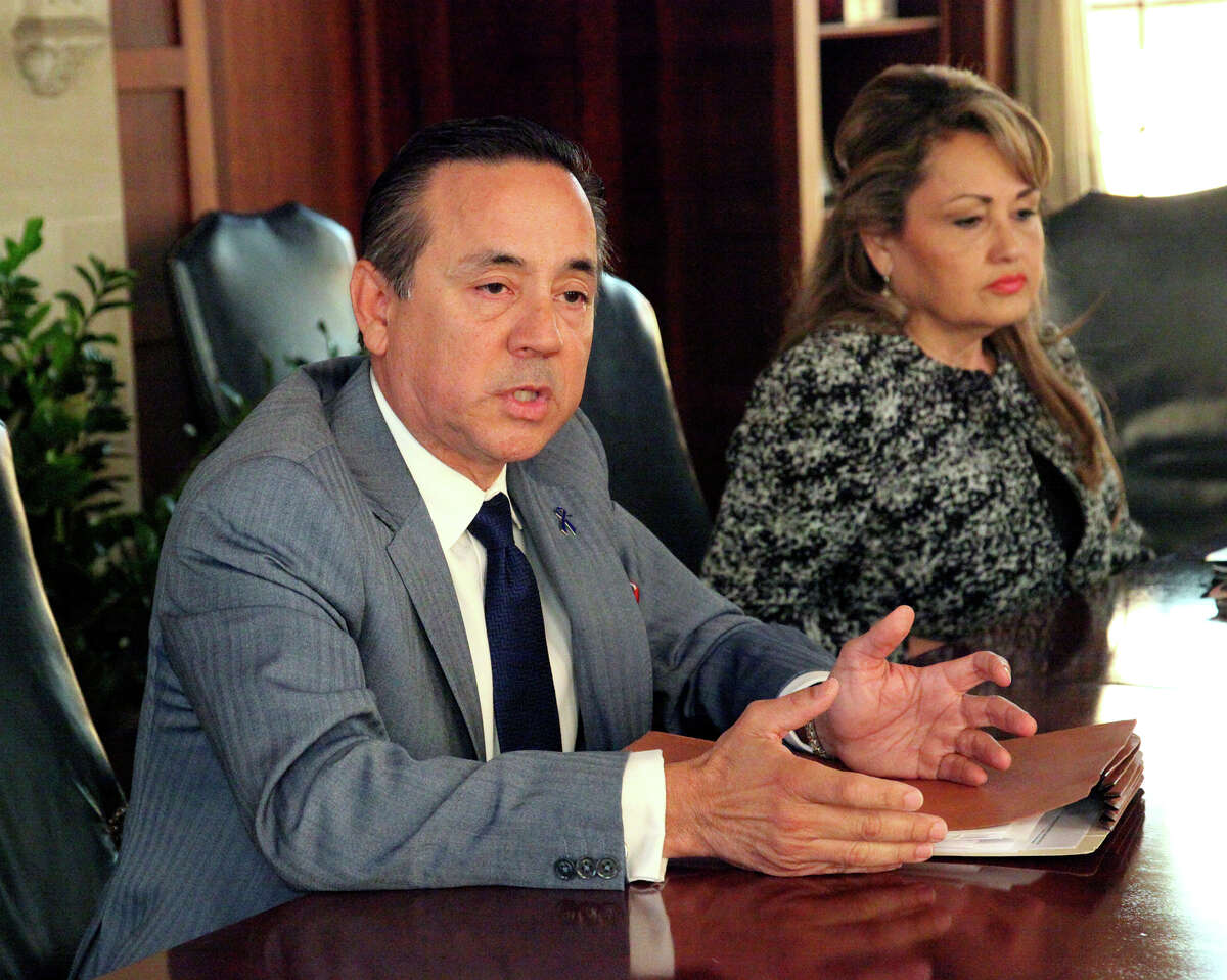 March 1 Democratic primary race for Texas Senate District 19, incumbent Carlos Uresti and Helen Madla talk to Saen editorial board on Tuesday January 12, 2016.