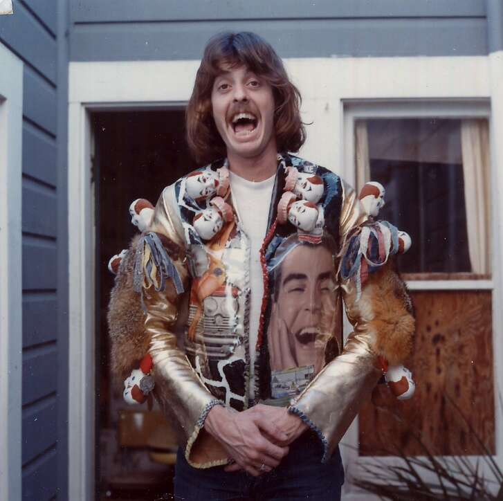 Fashion artist Bill Bowers wearing a jacket of his own design photographed in the 1970s in San Francisco.