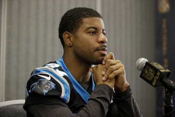 Carolina Panthers defensive back Robert McClain during a press conference Wednesday, Feb. 3, 2016 in San Jose, Calif. Carolina plays the Denver Broncos in the NFL Super Bowl 50 football game Sunday, Feb. 7, 2015, in Santa Clara, Calif. (AP Photo/Marcio Jose Sanchez)