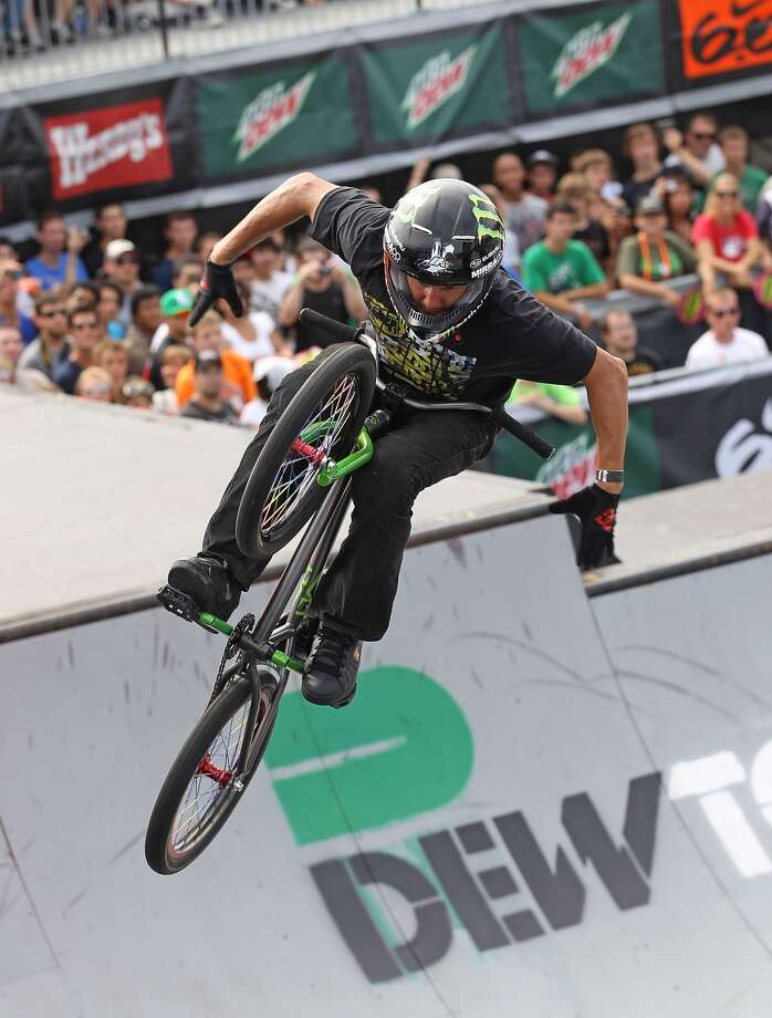 CHICAGO - JULY 24: Dave Mirra, from Greenville, North Carolina, performs during the Park Finals of the 6.0 BMX Open at Soldier Field on July 24, 2010 in Chicago, Illinois. (Photo by Jonathan Daniel/Getty Images)