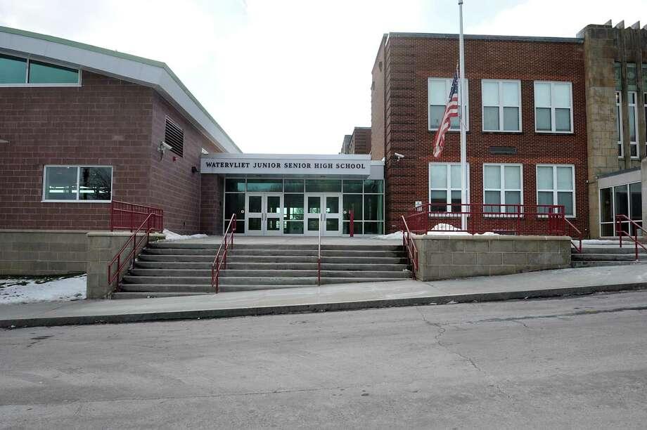 Exterior of Watervliet High School on Friday, Jan. 23, 2015 in Watervliet, N.Y. Watervliet is again in the top 10 districts in the state comptroller's school fiscal stress report. (Lori Van Buren / Times Union) Photo: Lori Van Buren / 00030330A