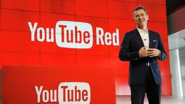 "Robert Kyncl, YouTube Chief Business Officer, speaks as YouTube unveils ""YouTube Red,"" a new subscription service, at YouTube Space LA in October. The service combines ad-free videos, new original series and movies from top YouTubers like PewDiePie, and on-demand unlimited streaming music for $10 a month."