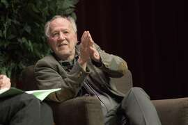 "Legendary film director Werner Herzog, a guest at the Feb. 2, 2016, meeting of Stanford University's ""Another Look"" book club.  Legendary film director Werner Herzog discusses J.A. Baker's book The Peregrine at the Feb. 2 Another Look book club event."