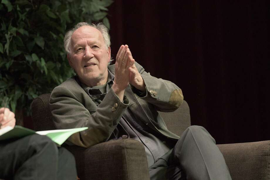 """Werner Herzog at Stanford to talk about a little-known, long-out-of-print book about a man and a falcon: """"The Peregrine,"""" by British author J.A. Baker. Photo: Linda A. Cicero, Stanford University"""