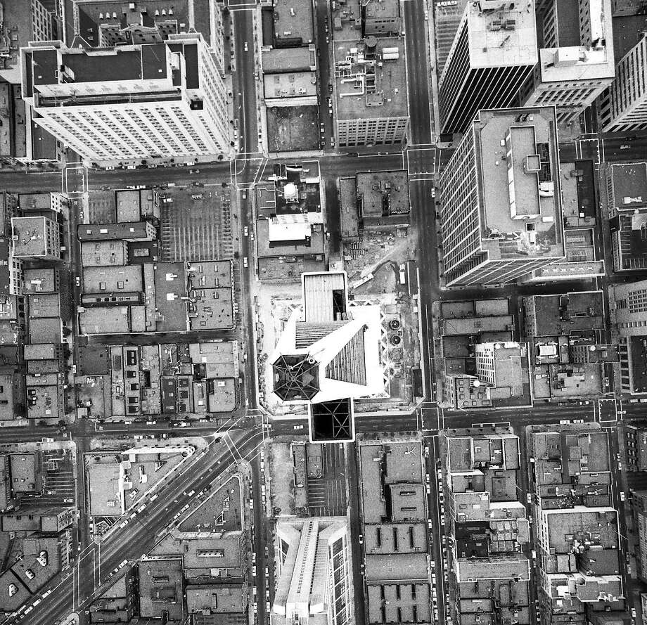 Aerial view of the Transamerica Pyramid Building taken from a helicopter about 150 feet above the building