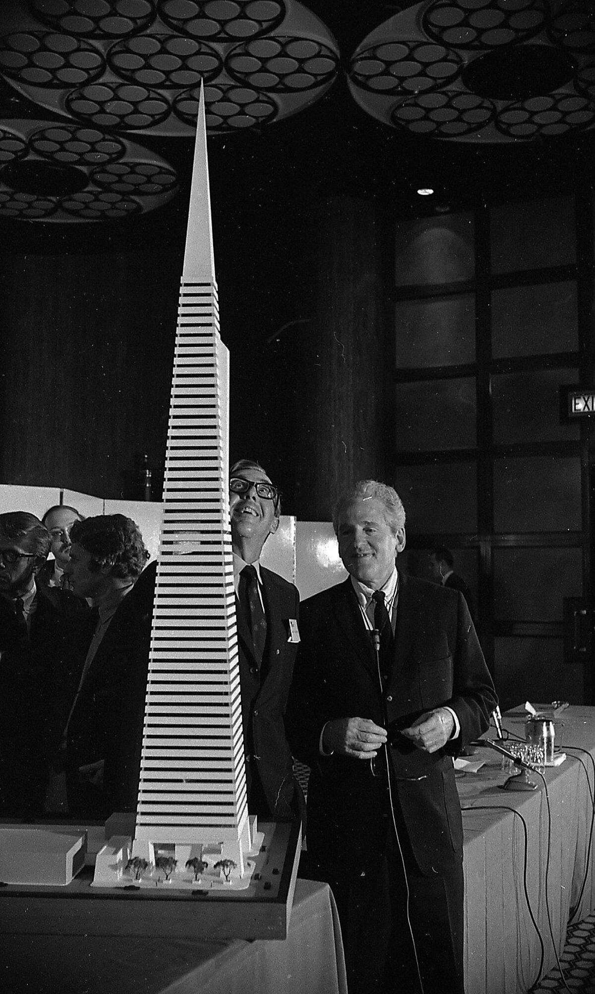 Model of the Transamerica Pyramid Building being planned Photos shot 01/1969