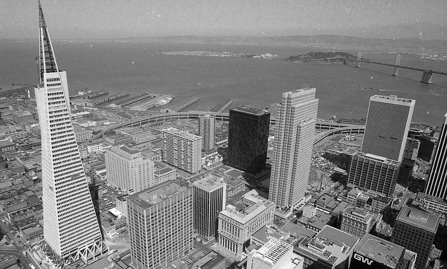 The topping-off ceremony at the Transamerica Pyramid on March 29, 1972. The Bay Bridge stands in the background. Photo: Art Frisch, The Chronicle