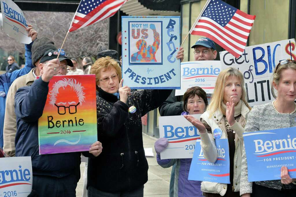Bernie Sanders supporters rally outside the State Board of Elections as they await the filing of petitions Thursday Feb. 4, 2016 in Albany, NY.  (John Carl D'Annibale / Times Union) Photo: John Carl D'Annibale / 10035264A
