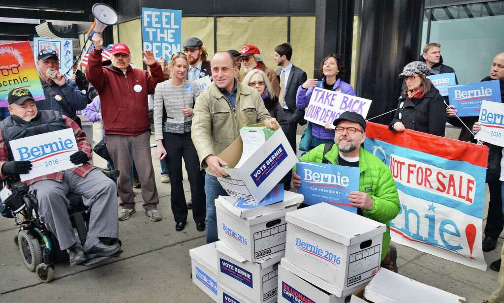Bernie Sanders supporters deliver boxes of petitions to  the State Board of Elections Thursday Feb. 4, 2016 in Albany, NY.  (John Carl D'Annibale / Times Union) Photo: John Carl D'Annibale / 10035264A
