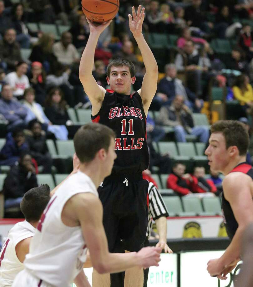 Glens Falls' Joseph Girard III drops three for the Indians against Scotia-Glenville during the Foothills Council boys varsity basketball championship at the Glens Falls Civic Center Thursday February 4, 2016. (Ed Burke/Special to The Times Union)