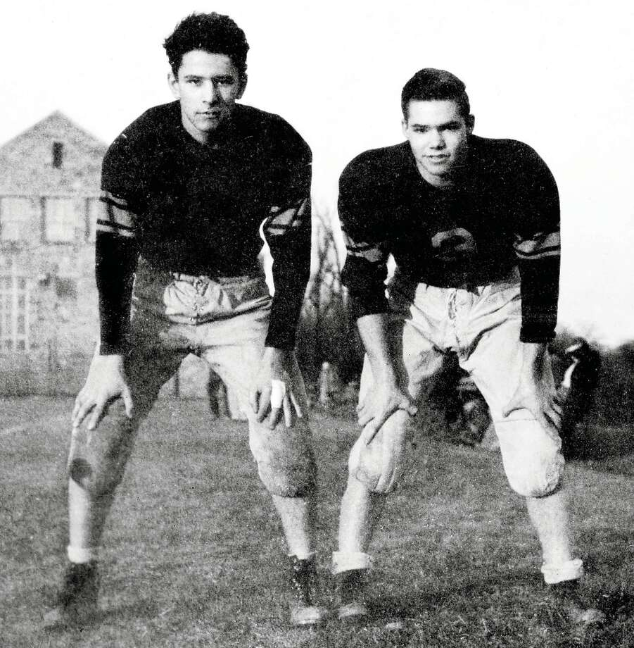 "Columnist Woody Klein, left, and friend Robert Pack, now a resident of Missoula, Mont., during their time as football players at Fieldston High School in Riverdale, N.Y., in the 1940s. Friends for 75 years, they call themselves ""The Corsican Brothers."" Photo: Contributed Photo / Westport News"