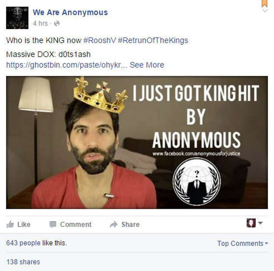 "Hacktivists Anonymous exposed information about ""legal rape"" blogger and Return of Kings leader Daryush  Valizadeh on Facebook. Click the gallery to see some of the outrageous things Return of Kings has said."