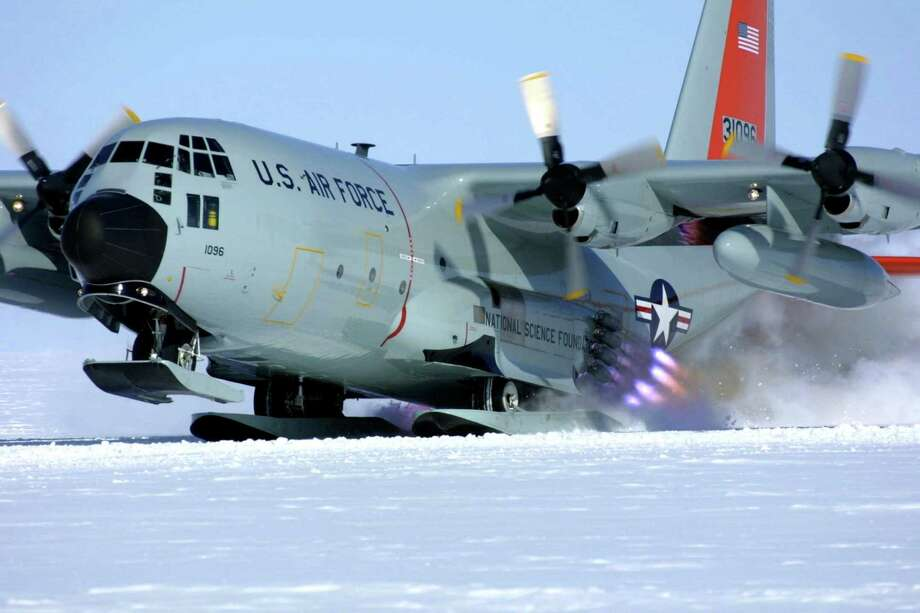 An LC-130 JATO in Antarctica. (NY Air National Guard)