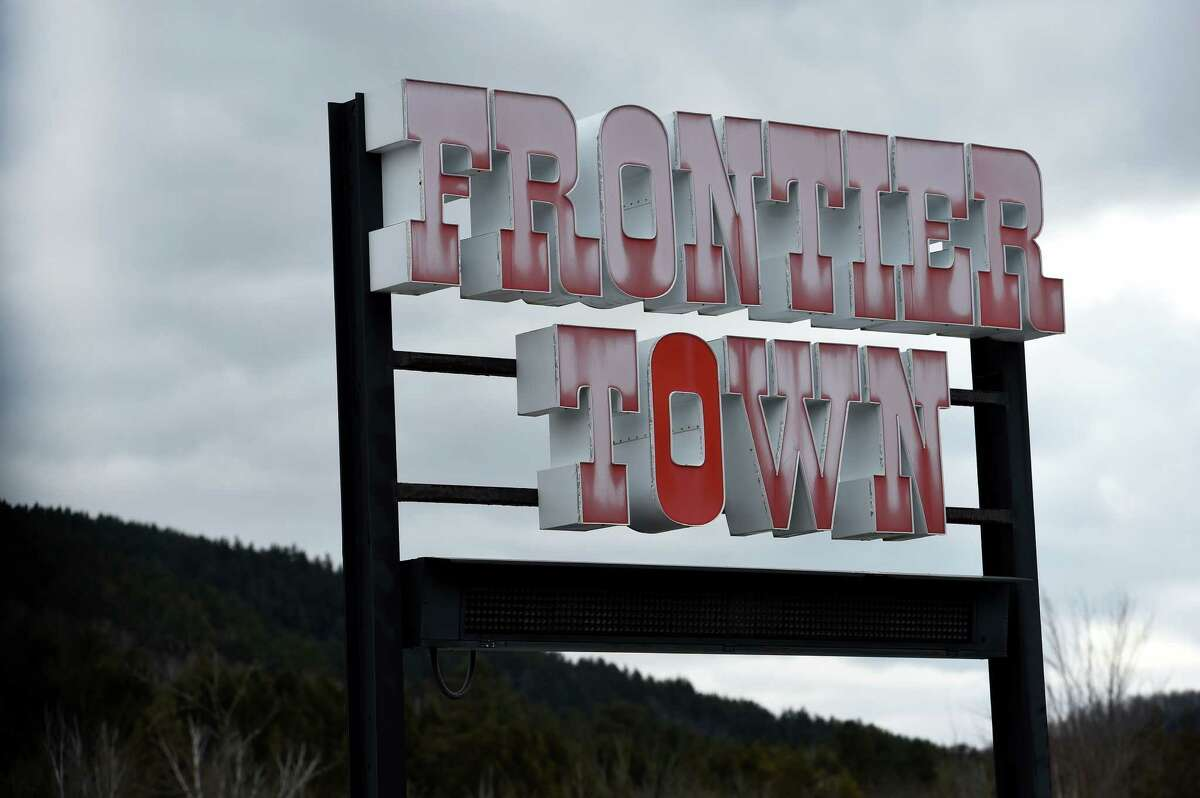 The sign for Frontier Town still stands on Thursday Feb. 3, 2016, decades after the attraction closed in North Hudson, N.Y. (Skip Dickstein/Times Union)