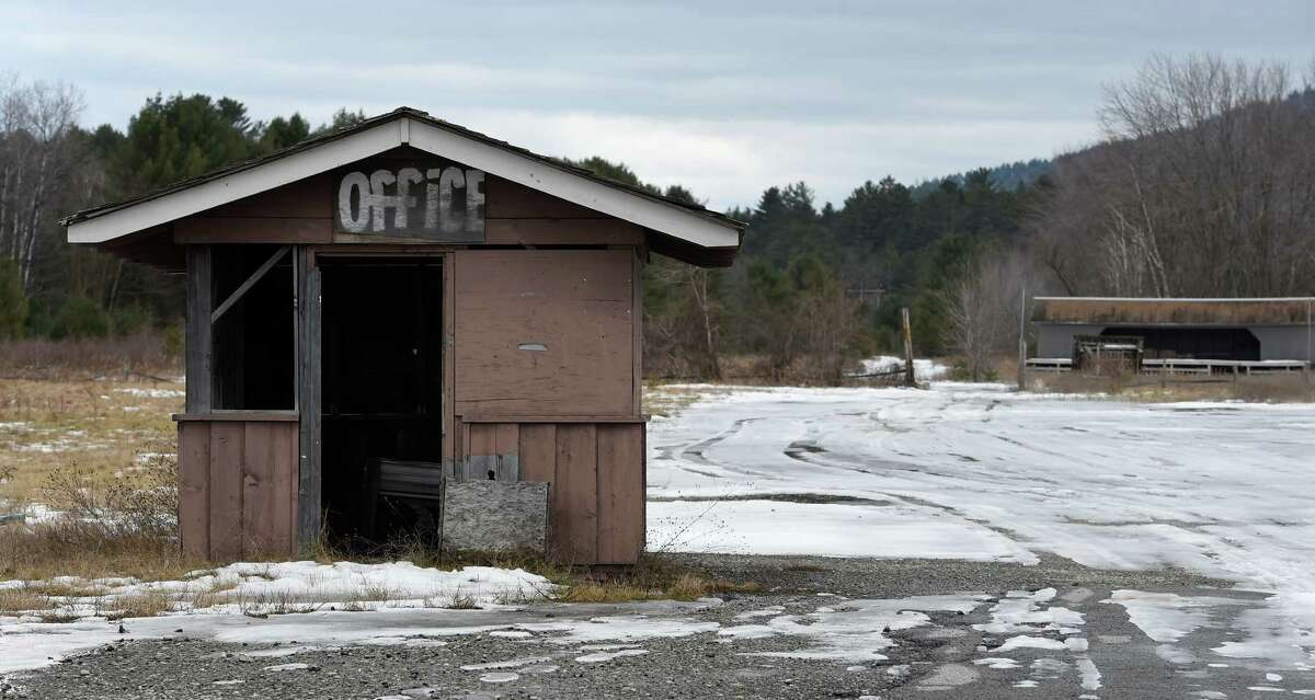 Office at the entry point to Frontier Town still stands on Thursday Feb. 3, 2016, decades after the attraction closed in North Hudson, N.Y. (Skip Dickstein/Times Union) (Skip Dickstein/Times Union)