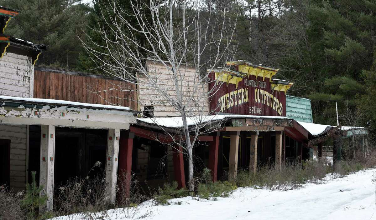 Buildings which may have been a retail area at Frontier Town have fallen into bad condition in the decades since the attraction closed. (Skip Dickstein/Times Union)