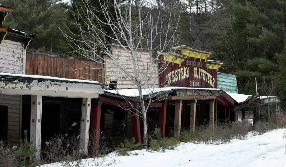 Buildings which may have been a retail area at Frontier Town have fallen into bad condition in the decades since  the attraction closed.      (Skip Dickstein/Times Union) Photo: SKIP DICKSTEIN / 10035283A