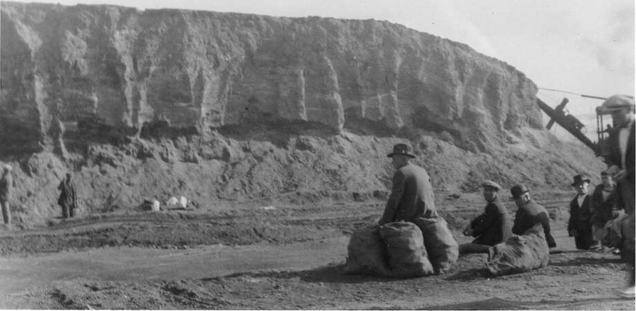The Emeryville shell mound, a leftover of the days when the Bay Area was inhabited by Indians, as it appeared before it was razed in the 1920s. Photo: Handout