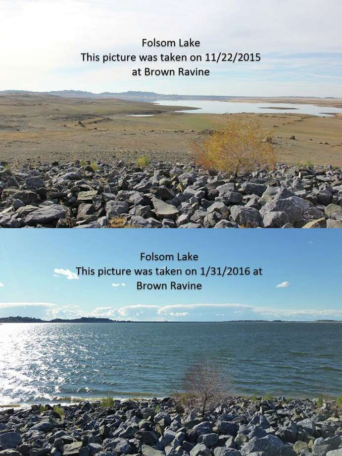 """Facebook user Mark Drebert posted a composite image showing Folsom lake photo on Feb. 1: """"I shot these comparison pictures at Folsom lake. 2 months and a week worth of rain goes a long ways. We still have a ways to go but were doing good."""" Photo: Mark Drebert"""