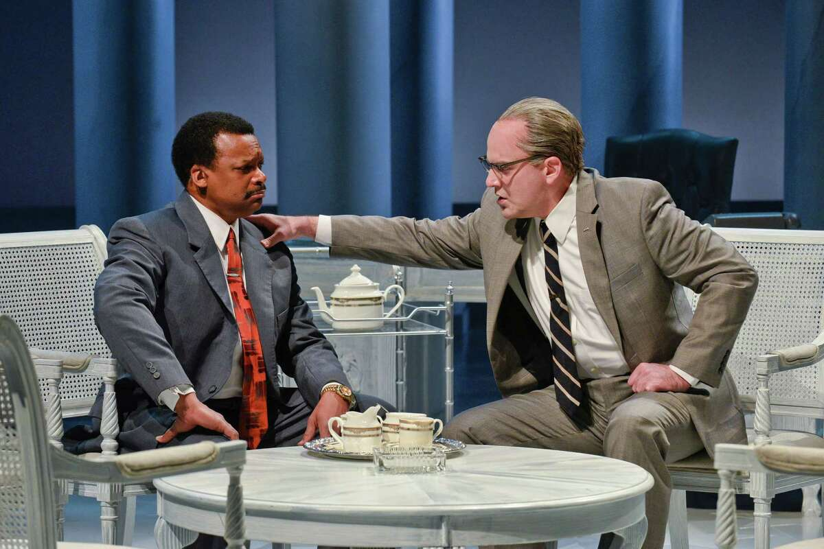 """Brandon Potter (right) stars as President Lyndon Johnson and Shawn Hamilton plays Dr. Martin Luther King in Robert Schenkkan's Tony-winning """"All the Way"""" at the Alley Theatre."""