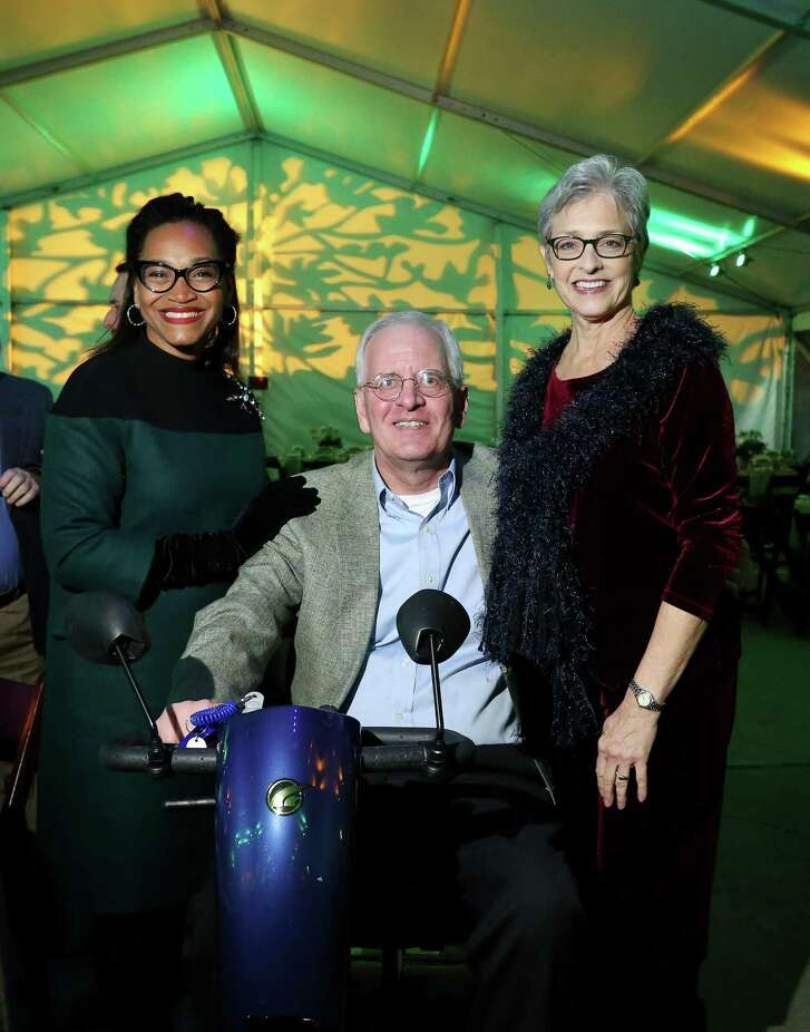 Anita Smith and Jim and Kay Porter pose for a photo at the Memorial Park Conservancy Green Gala.