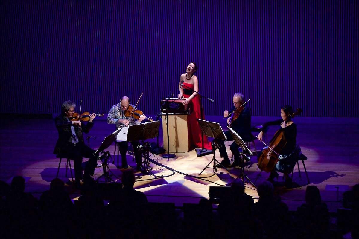 Mariana Sadovska (center) performs with the Kronos Quartet at SFJazz, 2/4/16