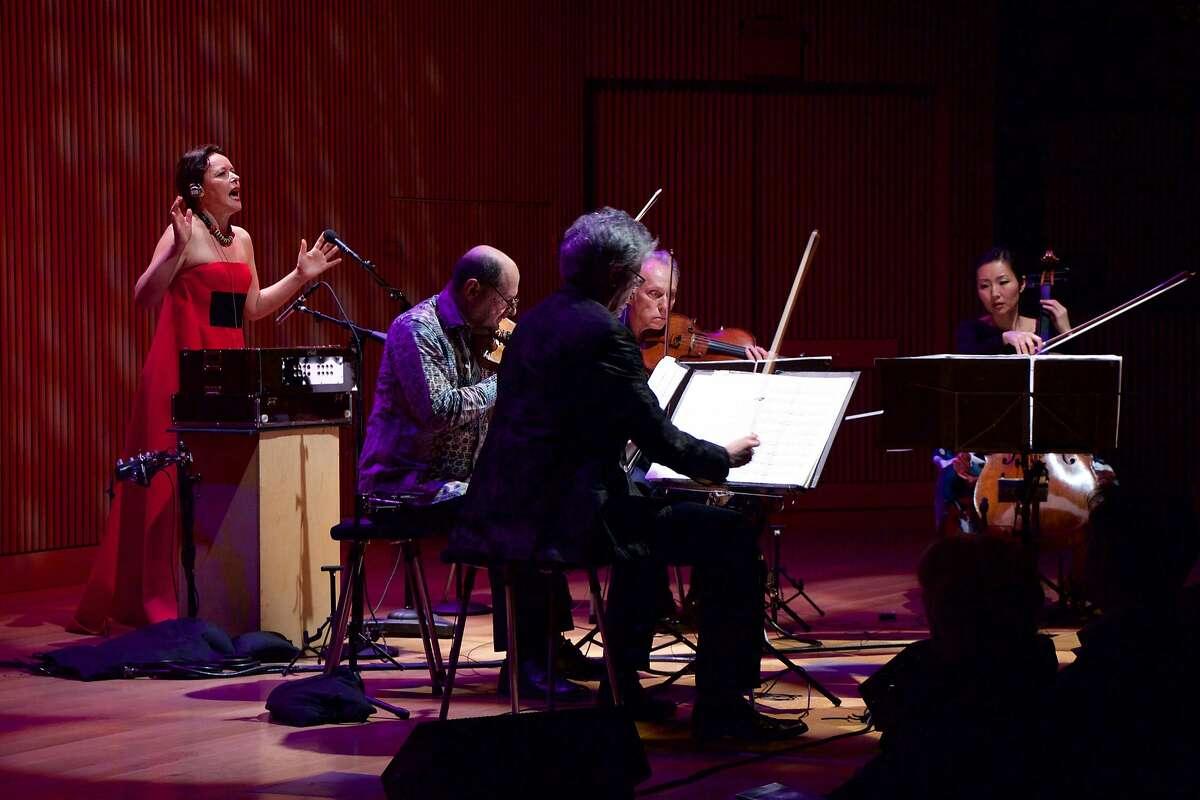 Mariana Sadovska (l.) performs with the Kronos Quartet at SFJazz, 2/4/16