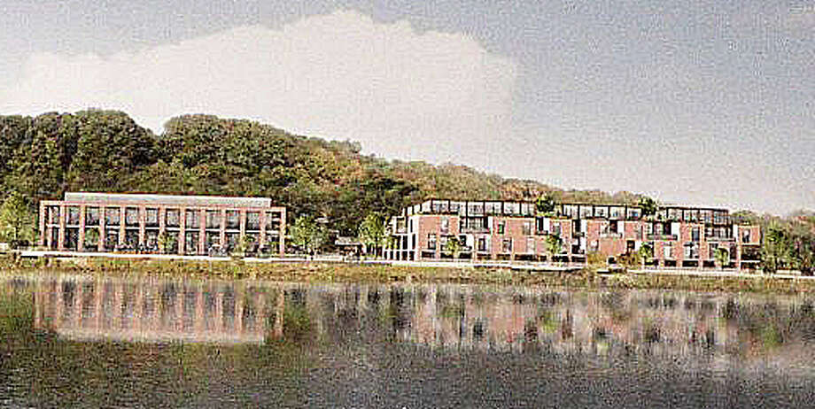 Architectural rendering shows what possible redevelopment of the former Save the Children property might look like from across the Saugatuck River -- if a Riverwalk District zoning amendment were approved for the Wilton Road site. Photo: Contributed Photo / Contributed Photo / Westport News
