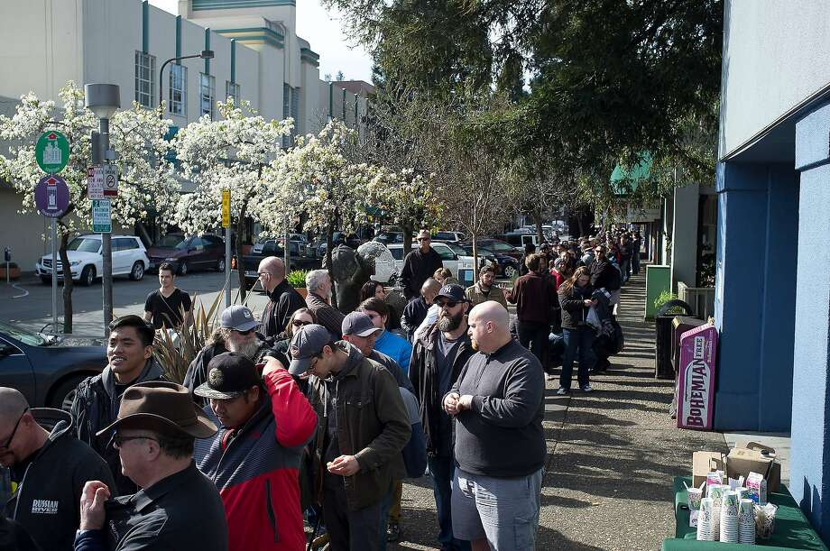 Customers line up for blocks during the unveiling of the Pliny The Younger beer at the Russian River Brewing Company in Santa Rosa, Calif. on Friday, Feb. 5, 2016 Photo: Chris Preovolos/SFGate