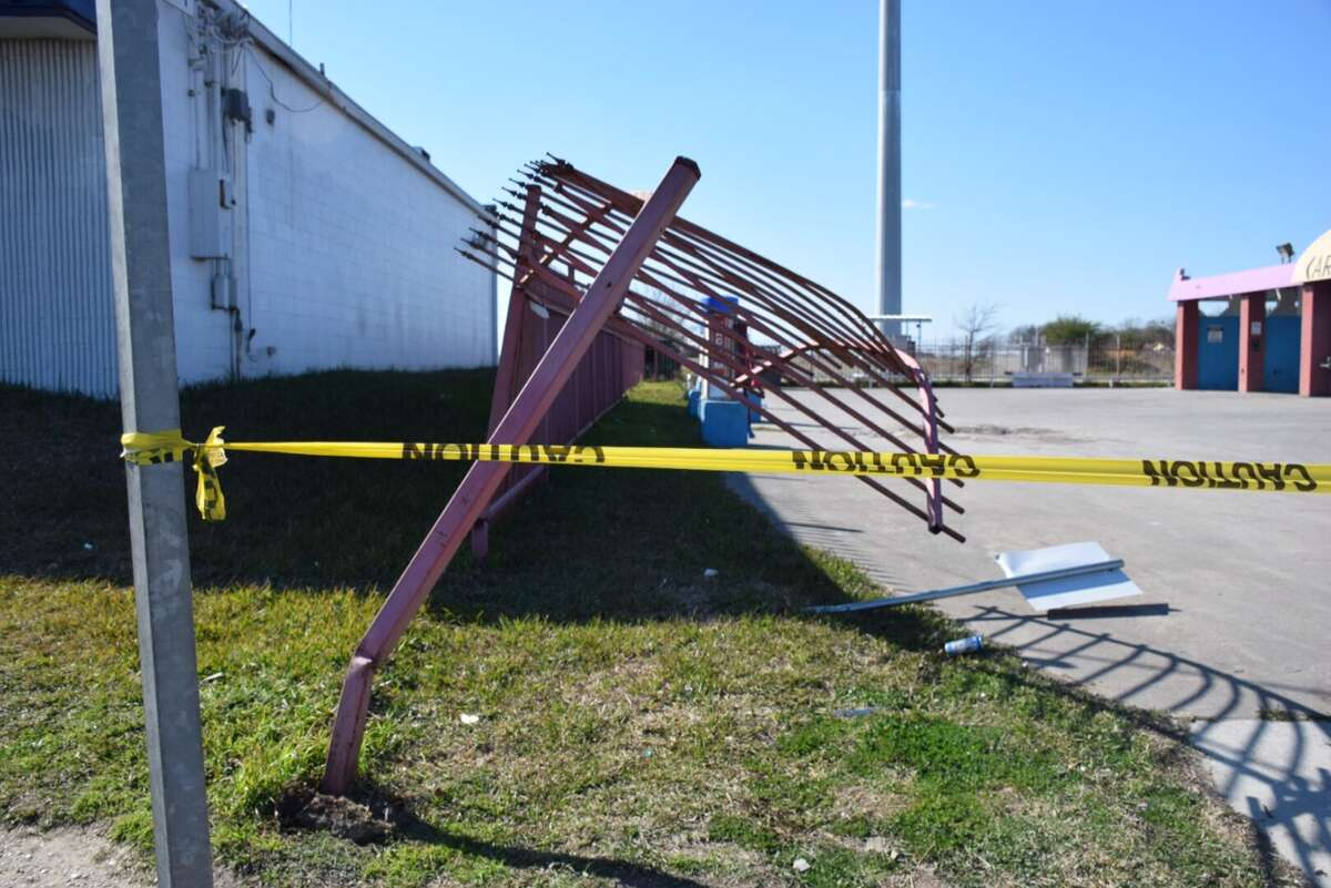 The driver of a truck lost control and barreled through a fence on the Northeast Side, striking a pedestrian on Friday, Feb. 5, 2015.