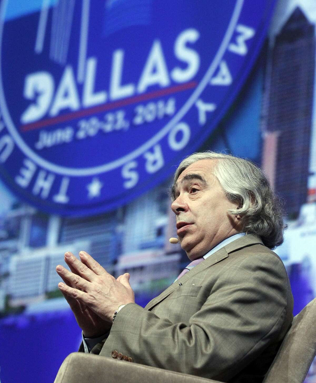 Ernest Moniz, secretary, United States Dept. of Energy, discusses climate protection at the U.S. Conference of Mayors in Dallas, on Sunday, June 22, 2014.