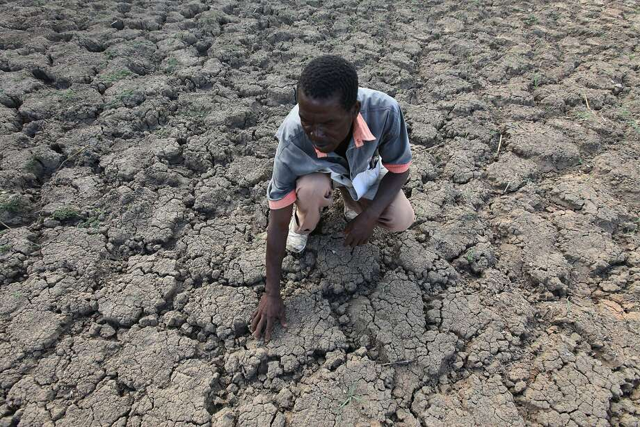 A man feels the ground at a spot that is usually a reliable water source in the village of Chivi. Photo: Tsvangirayi Mukwazhi, Associated Press