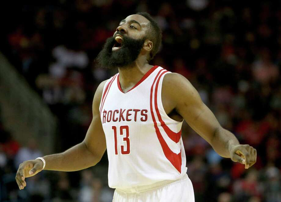 Houston Rockets guard James Harden (13) reacts after being fouled during the second quarter against the Washington Wizards at the Toyota Center Saturday, Jan. 30, 2016, in Houston, Texas. ( Gary Coronado / Houston Chronicle ) Photo: Gary Coronado, Staff / © 2015 Houston Chronicle