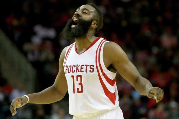 Houston Rockets guard James Harden (13) reacts after being fouled during the second quarter against the Washington Wizards at the Toyota Center Saturday, Jan. 30, 2016, in Houston, Texas. ( Gary Coronado / Houston Chronicle )