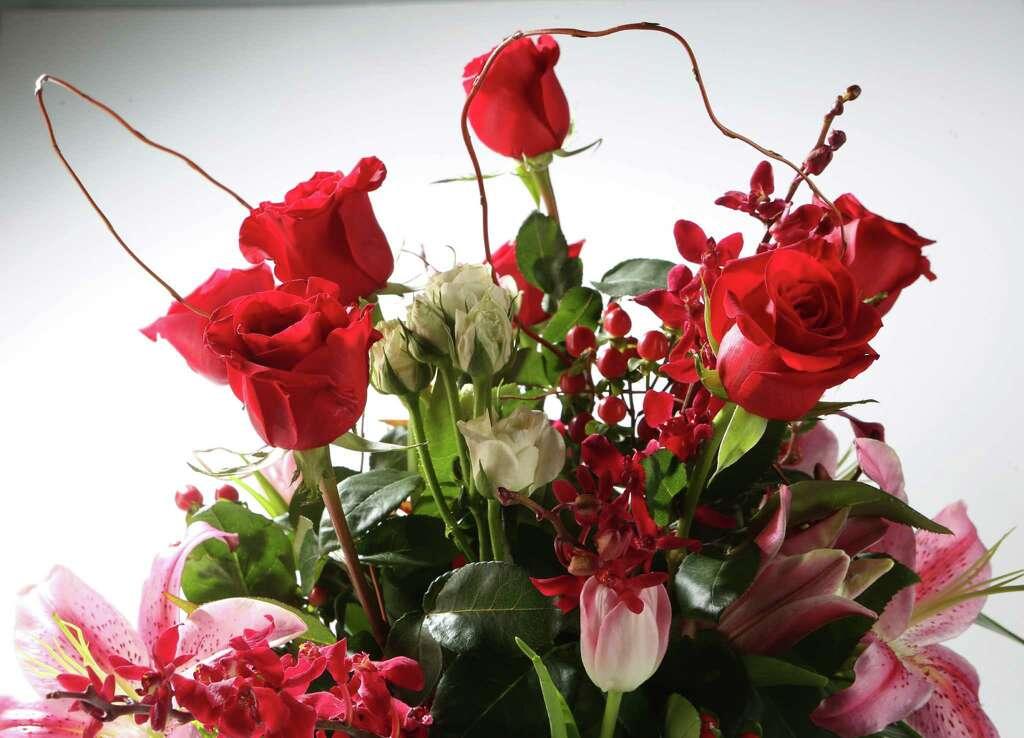 St. Valentine Flower Arrangements. Tuesday, Feb. 2, 2016, In Houston
