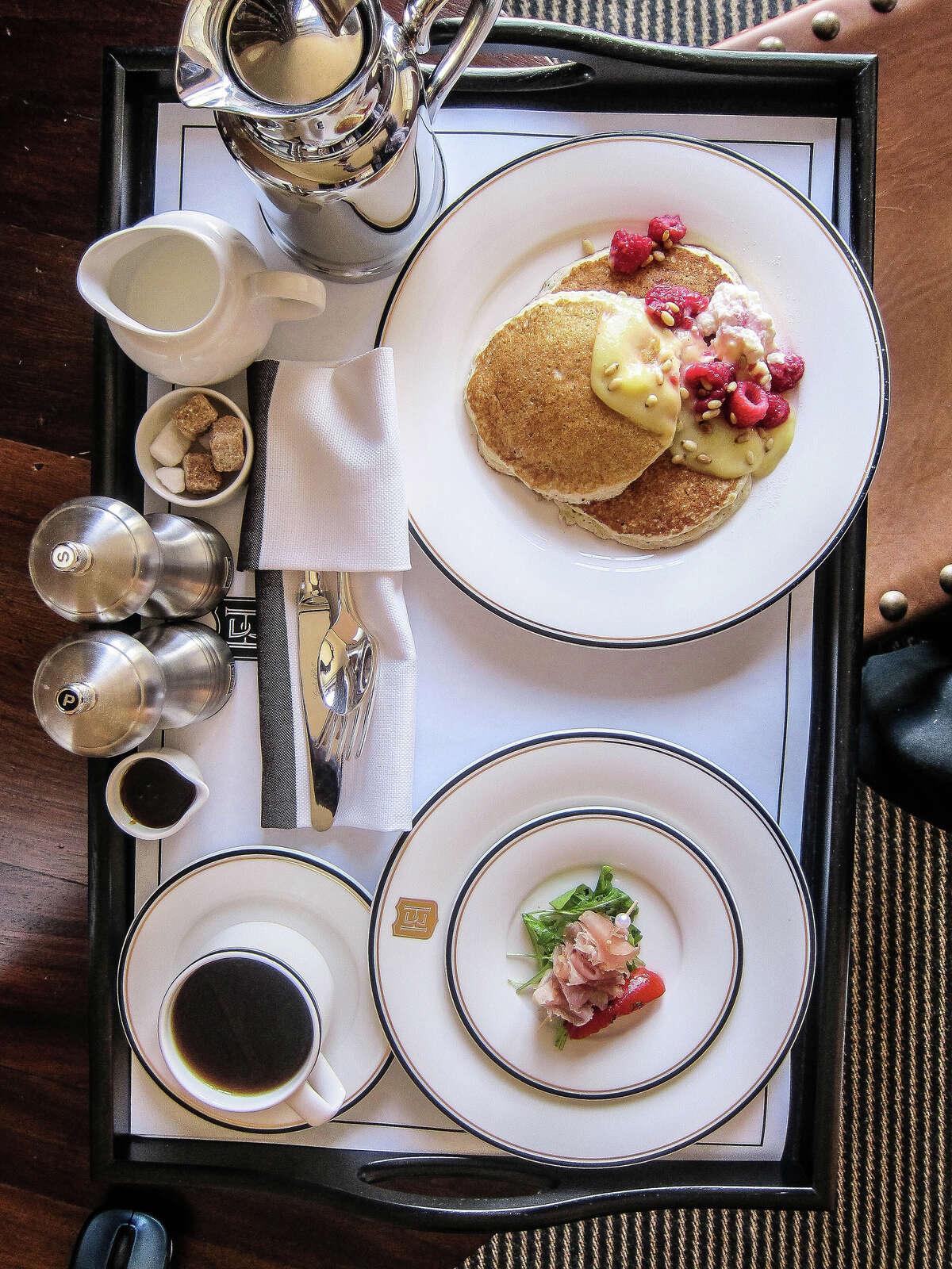 Room service breakfast tray, Hotel Emma.