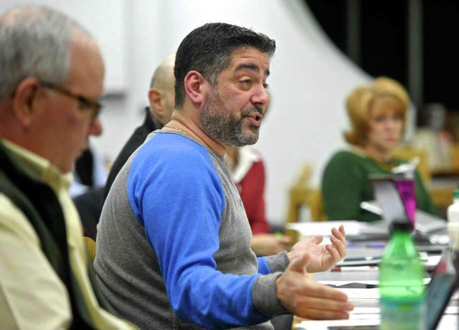 """Paul Cortese, Chairman of the Kent Board of Education, said """"the selectman are making a recommendation, it doesn't mean the board will take it up, discuss it, vote on it or anyway address it"""" during the boards monthly meeting in response to questions about the Town selectmen voting to recommend that the Board of Education consider adopting a school safety program that includes arming teachers and other school staffers with guns. Thursday night, February 4, 2016, in Kent, Conn.. Photo: H John Voorhees III / Hearst Connecticut Media / The News-Times"""